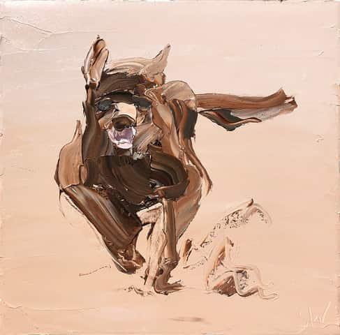 """Sheep Dog"", 45x45cm, oil on canvas. FINALIST 2021 Lethbridge Small Scale Art Prize."