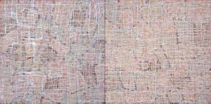 """dusk to dawn"" diptych, 2012, 40""x80"", acrylic on canvas"