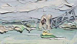 """Bradley's Head Study 1 (3.11.17) – Plein Air"", 22x5x25.2cm, oil on oil paper."