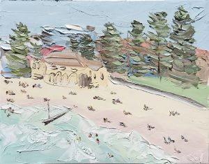 """North Steyne, Manly (29.12.17) – Plein Air"", 60x75cm, oil on canvas."