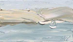 """Pittwater Study 2 (18.9.17) – Plein Air"", 22.5x25.2cm, oil on oil paper."