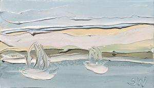 """Pittwater Study 3 (18.9.17) – Plein Air"", 22.5x25.2cm, oil on oil paper."