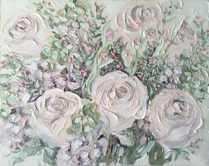 """Roses On Friday (28.7.17)"", 120x150cm, oil on canvas."