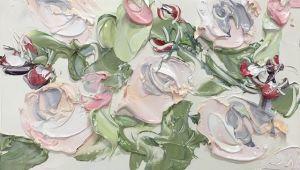 """""""Roses On Friday Study 1 (28.7.17)"""", 22.5x25.2cm, oil on oil paper, framed."""