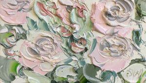 """""""Roses On Thursday Study 2 (27.7.17)"""", 9x5"""", oil on oil paper, framed."""