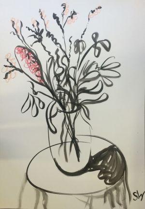 """The June Bunch"", 75x100cm, ink on paper. Framed."