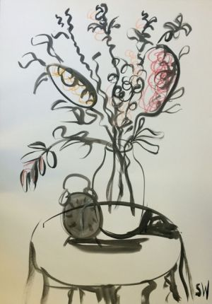 """Time's Ticking"", 75x100cm, ink on paper. Framed."