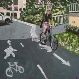 """bike girl at queenscliff"", 2011, 40""x40"", oil on canvas"