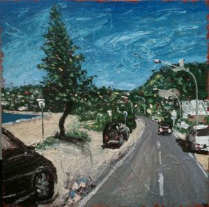 """main strip at palmy"", 2011, 40""x40"", oil on canvas"
