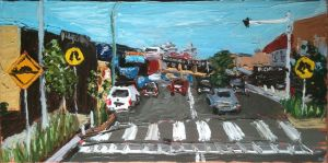 """freshwater village"", 2011, 20""x40"", oil on canvas"