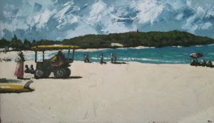 """lifeguard at north palmy"", 2011, 36""x60"", oil on canvas"