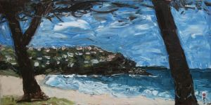 """north headland at whale beach"", 2011, 20""x40"", oil on canvas"