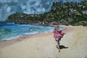 """running free on whale"", 2011, 36""x54"", oil on canvas"