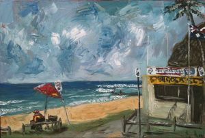 """surf patrol at bilgola"", 2011, 36""x54"", oil on canvas"