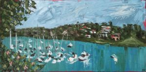 """view from newport arms"", 2011, 20""x40"", oil on canvas"